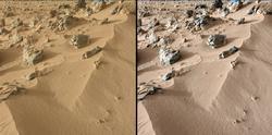 Obrázky, ktoré boli zosnímané pomocou Mast Camera na NASA Curiosity rover ukazujú vrchnú časť Marťanskej pôdy nazvanej Rocknest